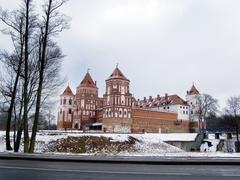 belorussia, fortress, battlement, tower - stock photo