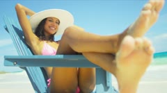 Girl Bikini Straw Hat Enjoying Carefree Beach Living in Sun Stock Footage