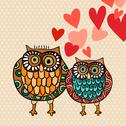 Valentine owl couple in love Stock Illustration