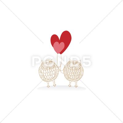 Stock Illustration of valentine lovely owls