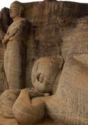 reclining buddha and chief disciple - stock photo