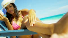 Girl Using Sun Protection Luxury Island Vacation Stock Footage