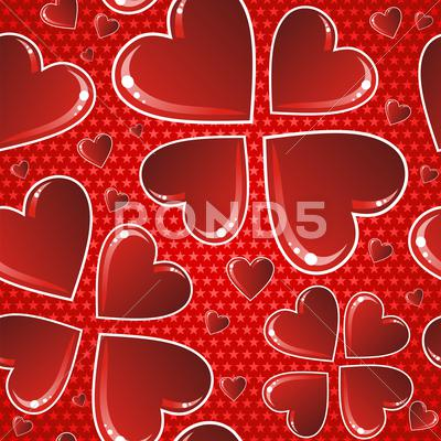 Stock Illustration of valentine red glossy heart pattern