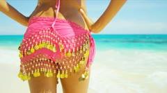 Close Up Female Upper Legs Waist Wearing Swimwear Sarong Stock Footage