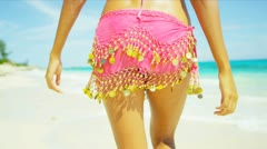 Legs Waist Female Beach Dressed Casual Swimwear Stock Footage