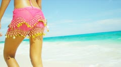 Close Up Lower Body Beach Girl Wearing Bikini Stock Footage