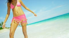 Latin American Girl Enjoying Luxury Island Vacation Stock Footage