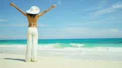 Beach Girl Celebrating Island Living Stock Footage