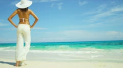 Elegant Female White Beach Clothes Island Vacation Stock Footage