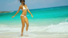Hispanic Girl Luxury Beach Vacation Stock Footage