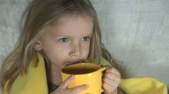 Child being Cold Drinking Tea to Warm, Sick Little Girl, ill Kid, Children Stock Footage