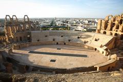 Stock Photo of Amphitheatre with El Djem city skyline