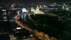 Cityscape of russian capital with Ukraine Hotel and White house Stock Footage