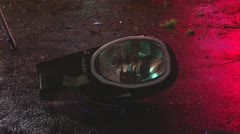 Street light laying on the ground Stock Footage