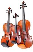 three sizes of fiddles - stock photo