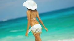Latin American Bikini Girl Loving Island Lifestyle Stock Footage
