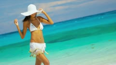 Smiling Latin American Girl Paradise Island Stock Footage