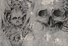 tattoo art,2 biomechanical demons over grey background, sketch - stock illustration