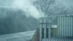 Snow Covered Chimney Stock Footage