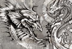 Dragons, tattoo illustration over grey wall Stock Illustration