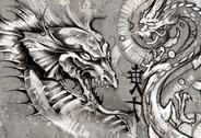 Stock Illustration of dragons, tattoo illustration over grey wall
