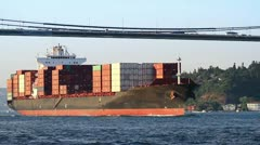 Super Ship Transporting Containers Stock Footage