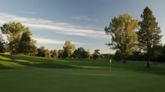 961 early morning generic golf shot fairway to green Stock Footage