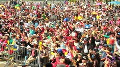 Crowd Waiving Stock Footage