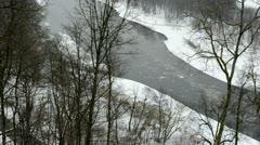 Neris river flow floe downhill park Stock Footage