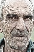 Closeup portrait of old man Stock Photos