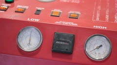 Round gauges on a machine. Stock Footage