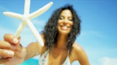 Close Up Smiling Beach Girl Star Fish Advertising Island Welcome  Stock Footage