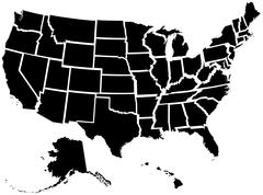 United States 50 States Map - stock illustration