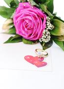 rose with hearts - stock photo