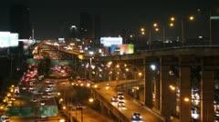 Night scene traffic in Bangkok city , Thailand Stock Footage