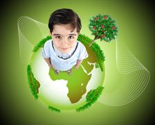 kid standing on planet earth. concept,  photo and illustration. - stock illustration