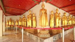 Golden Buddhist Statues in Wat Pho Stock Footage