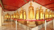 Stock Video Footage of Golden Buddhist Statues in Wat Pho