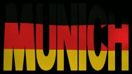 Munich text with fluttering flag animation Stock Footage