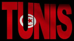 Tunis text with fluttering Tunisian flag animation Stock Footage