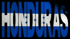 Honduras text with fluttering flag animation Stock Footage