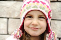 adorable little girl with positive smiling face - stock photo