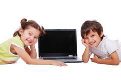 chidren activities on laptop - stock photo