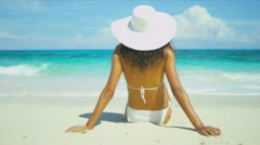Bikini Girl Relaxing Dream Paradise Island Stock Footage