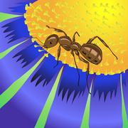 ant and flower - stock illustration