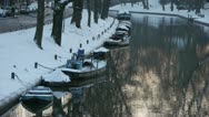 Stock Video Footage of Winter water scene with small boats