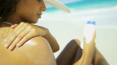 Girl Bikini Straw Hat Enjoying Sun Applying Sunscreen Stock Footage
