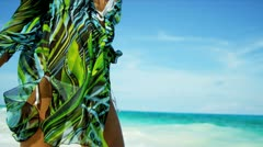 Girl Wearing Bikini Dress Walking Island Beach Stock Footage