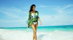 Barefoot Hispanic Girl Luxury Beach Vacation - stock footage