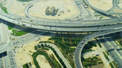 Aerial view desert expressway interchange  Dubai - stock footage